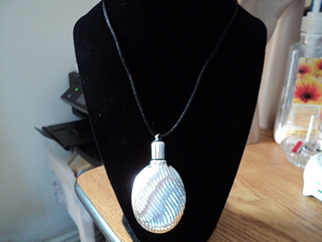 Silver Perfume Bottle on Black Cord Necklace  #00158