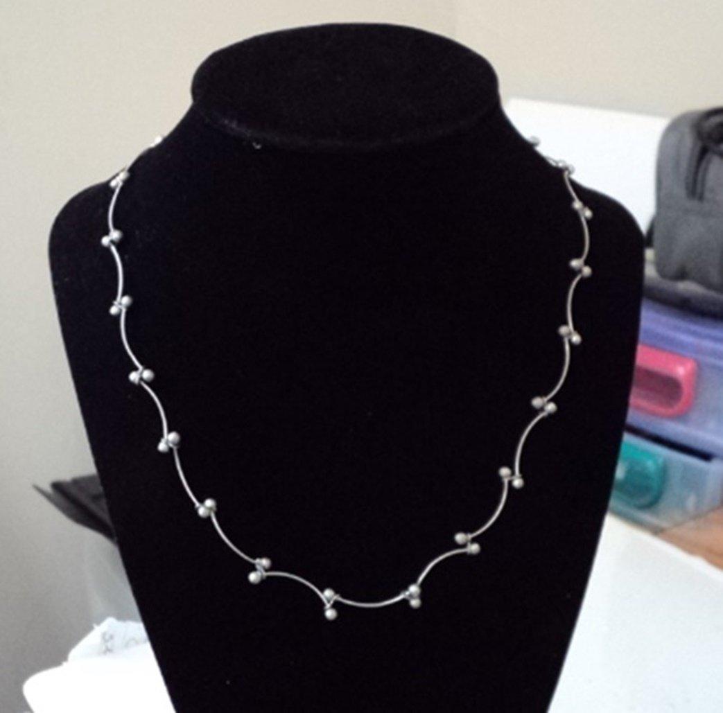 Silver Choker Scallops Silver Balls Necklace #00148