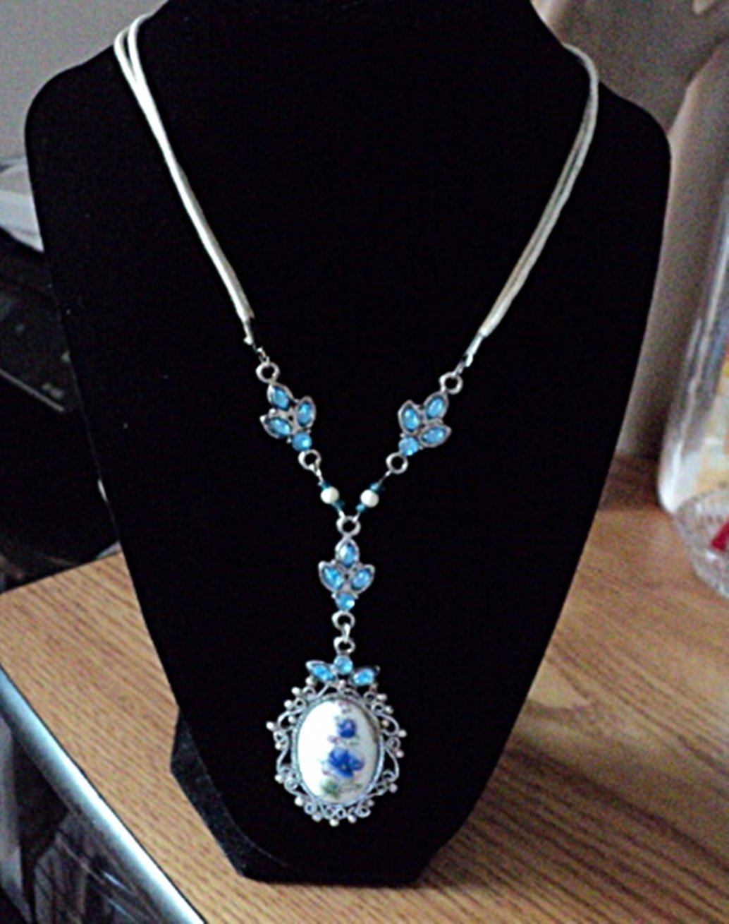 Vintage Blue Stones and White Floral Cameo Necklace #00045