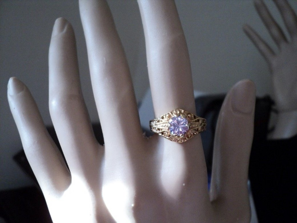Gold Tone and Light Amethyst Stone Ring Size 6 #00009