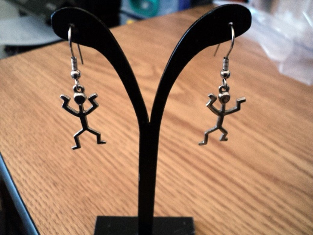 Silver Tone Stick Man Dangle Earrings  #00219