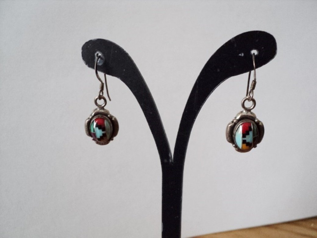 "1 1/2"" Long Silver Turquoise Coral & Lazuli Dangle Earrings #00003"