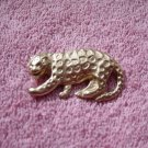 Gold Tone Growling Leopard Brooch  #00174