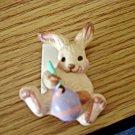 1986 Hallmark Cards Inc. Rabbit Painting Easter Egg Brooch  #00047