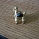 Small Gold Tone Poodle Dog Lapel Pin with Black Stone  #00034