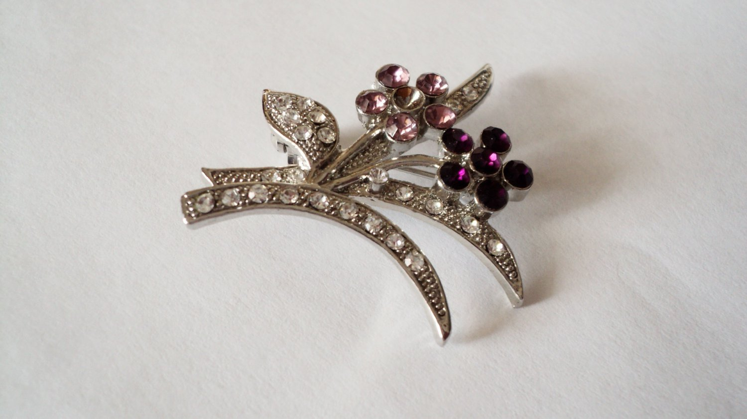 Delicate Amethyst Floral and Rhinestone Silver Brooch #00017