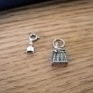 Two Small Silver Charms Basket and Bell #00214