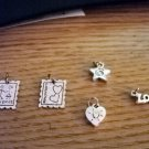 Five Silver Tone Friendship Love Charms #00093