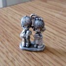 1981 Jonathon & David Licensed Enesco Man, Woman and Baby Pewter Figurine Charm  #00049