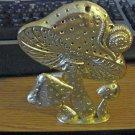Gold Tone Metal Torino Earring Holder Snail and Mushrooms #00196