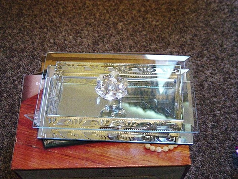I. Godinger Rectangular Covered Crystal Glass Jewelry Trinket Box Mirrored Bottom  #00122