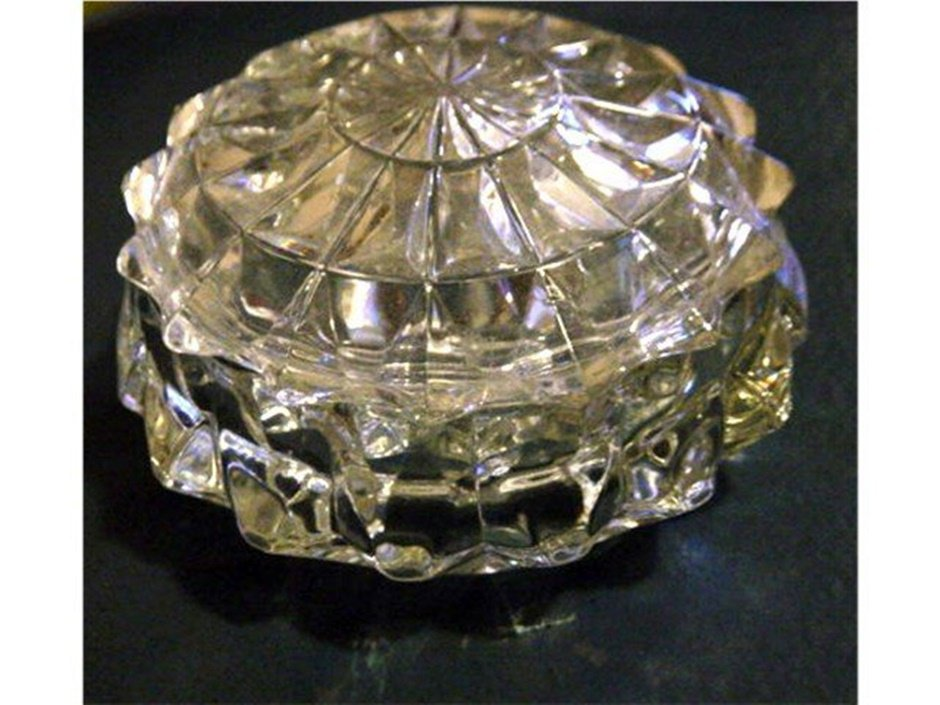 Vintage Cut Glass Lidded Vanity Trinket Box  #00119