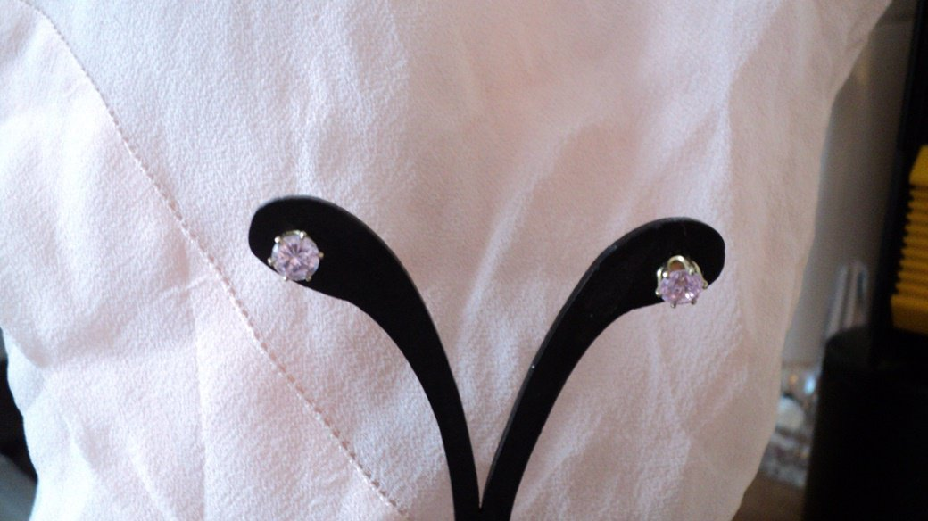 Gold Tone Hypo Allergenic Pink CZ Stones Stud Earrings #00227