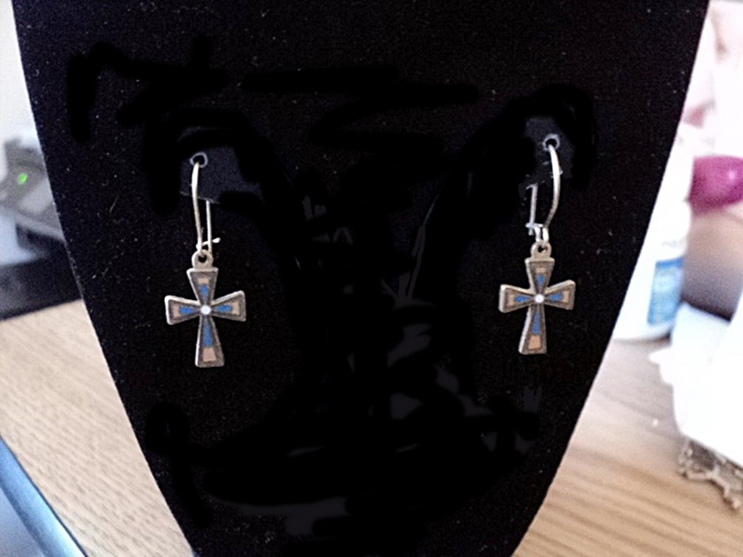 Gold Tone Drop Earrings with Blue Gray and Gold Cross #00235