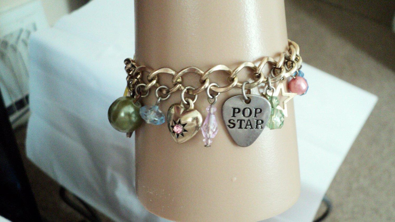 Disney Gold Tone Pop Star Charm Bracelet #00239