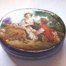 Cobalt Blue Oval Courting Couple Trinket Box #00032
