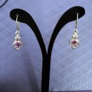 Silver and Amethyst Lever Back Dangle Earrings #00244