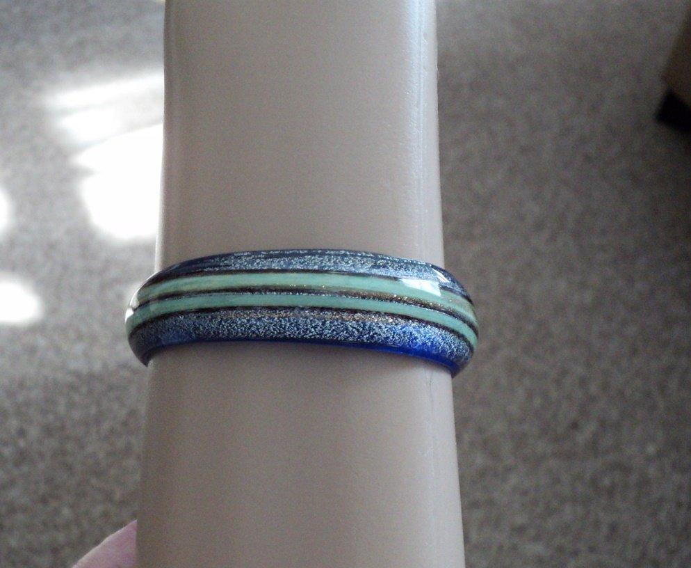 Vintage Translucent Blue & Green Lucite Bangle Bracelet  #00252