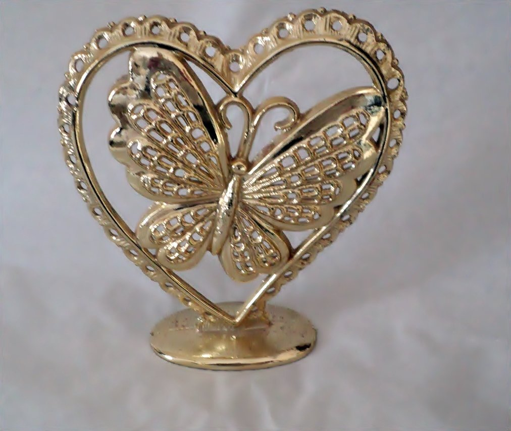 Gold Tone Torino Metal Heart with Butterfly Earring Holder #00247