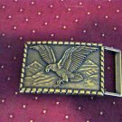 American Eagle and Mountains Brass Belt Buckle   #00255