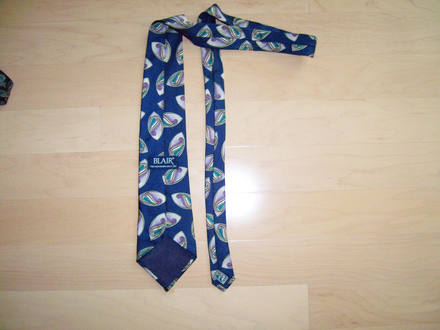 Men's Tie  Navy with Oval Pattern