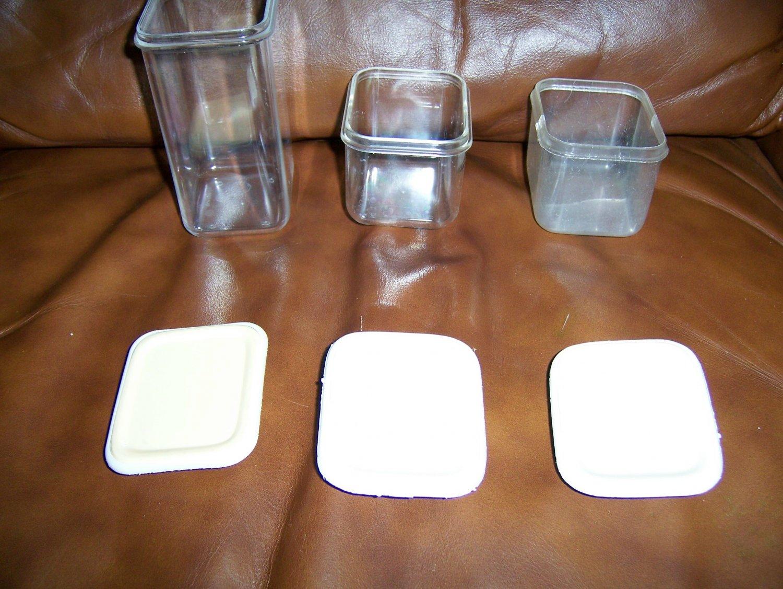 Set Of Three H/D Plastic Storage Jars w Covers