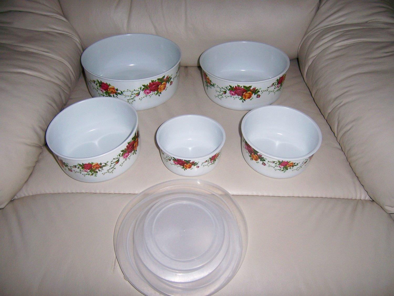 PVC Bowls w Covers Set Of Five