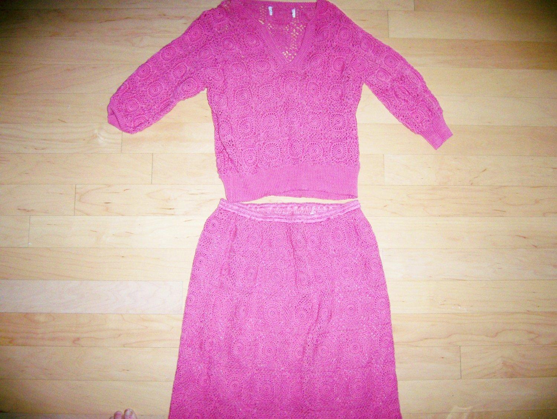Knit 2 Pc Dress Rose Color Size Medium BNK143