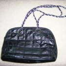 Black Patch Work Purse w Silver/Black Carry Chain BNK158