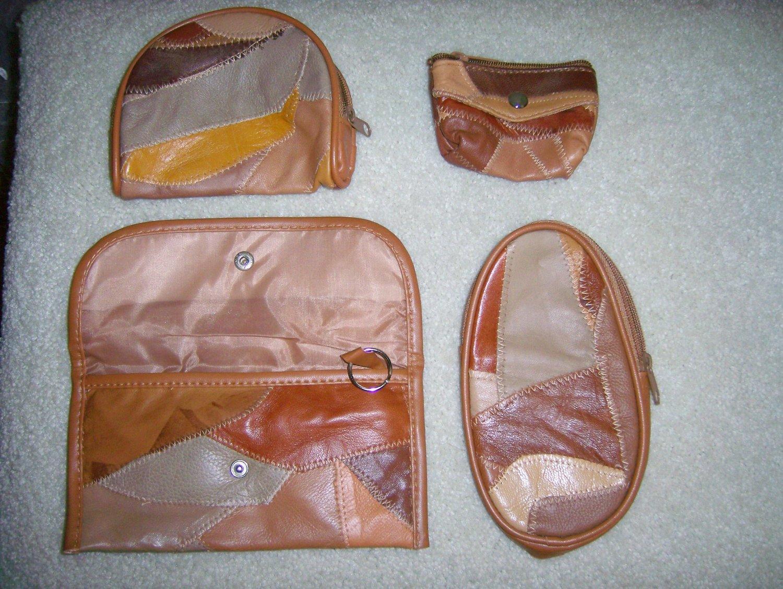 Set of 4 Lambskin Patchwork Design Clutches BNK159