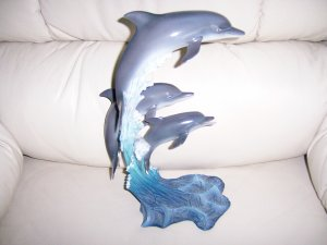 Three Leaping Dolphins Grey w Blue Waves BNK165