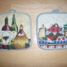 Pot Holders Pair White w Wine & Garden Design BNK193