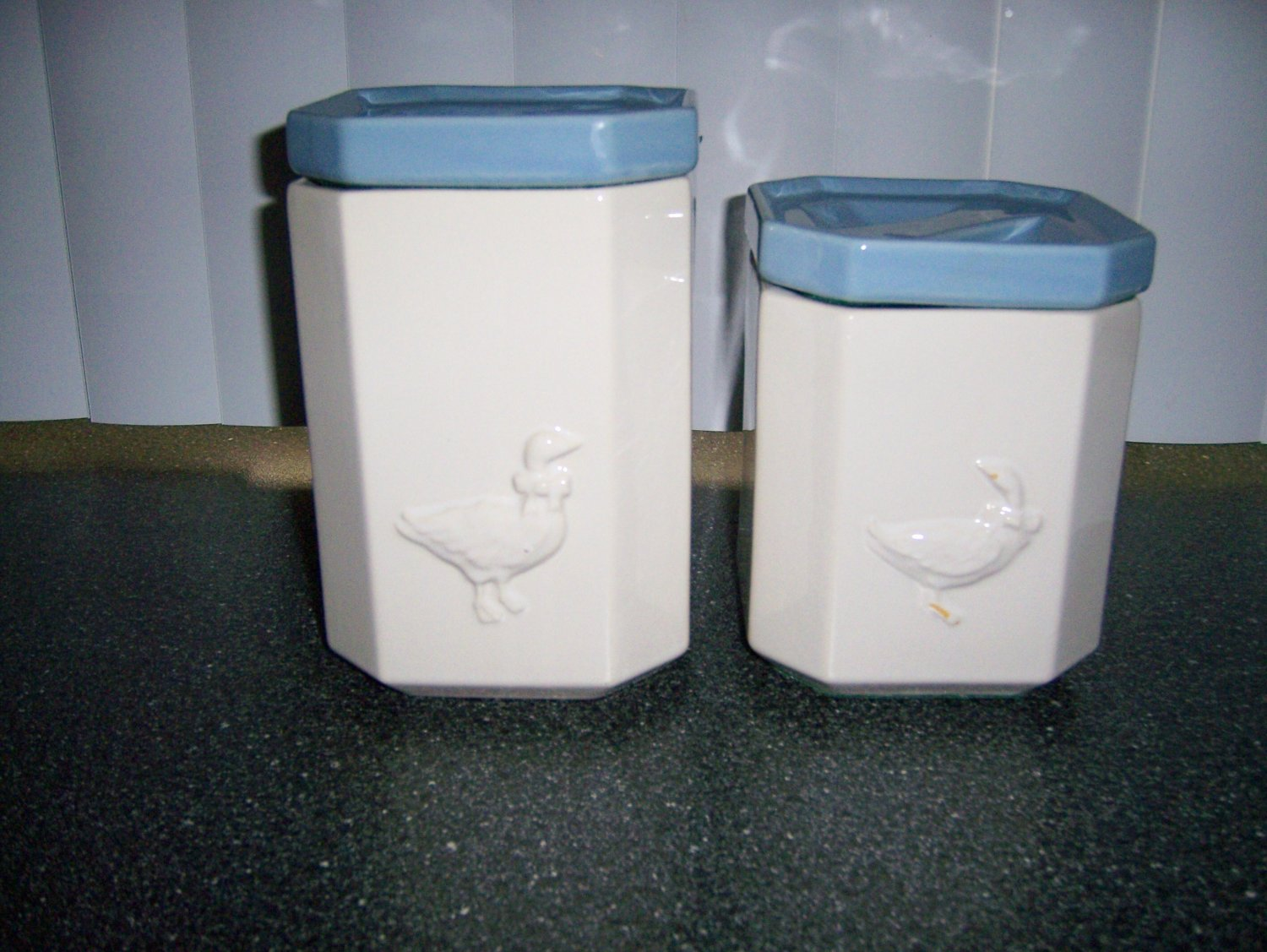 Canister Set 2 Pcs White w Duck Design  BNK290