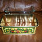 Pyrex Loaf Pan & Metal Carry Bin BNK338