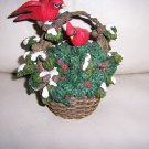 Two Cardinals In Basket Of Flowers BNK381