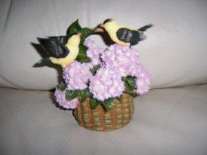 Two Oriole Birds In Basket Of Flowers BNK384
