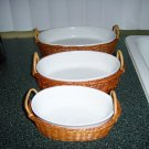 Tan Wicker Holder & Bowl Serving Set Of Three BNK399