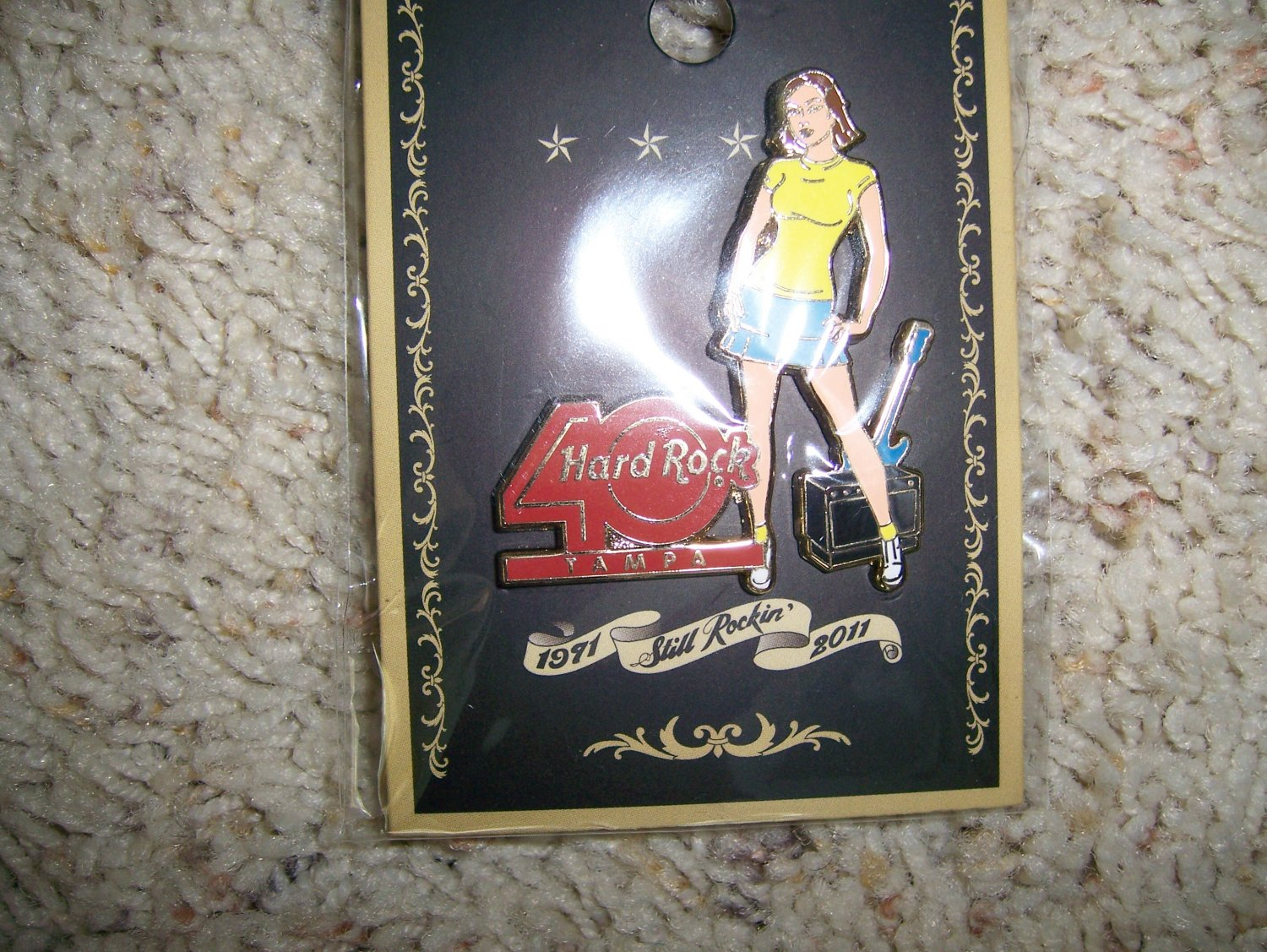Hard Rock 40 Year Pin with Girl & Story BNK592