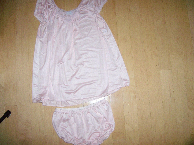 Pink Waist Length Nightie with Panties BNK617