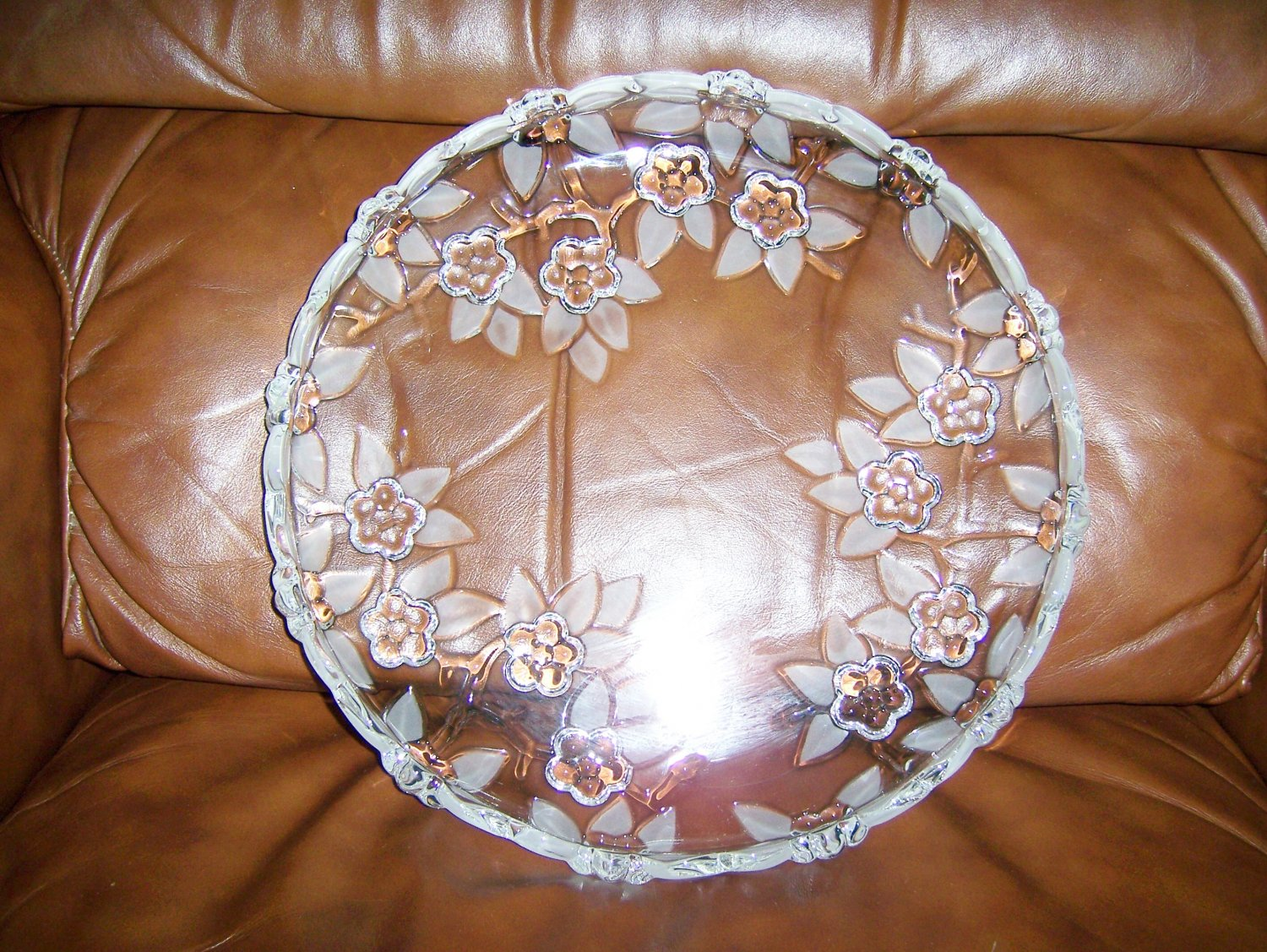 "Serving Plate 10"" Glass Flowers Designs BNK659"