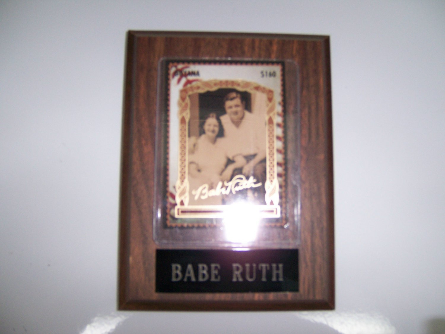 Babe Ruth & Lady Plaque Autographed by BabeRuth BNK1157