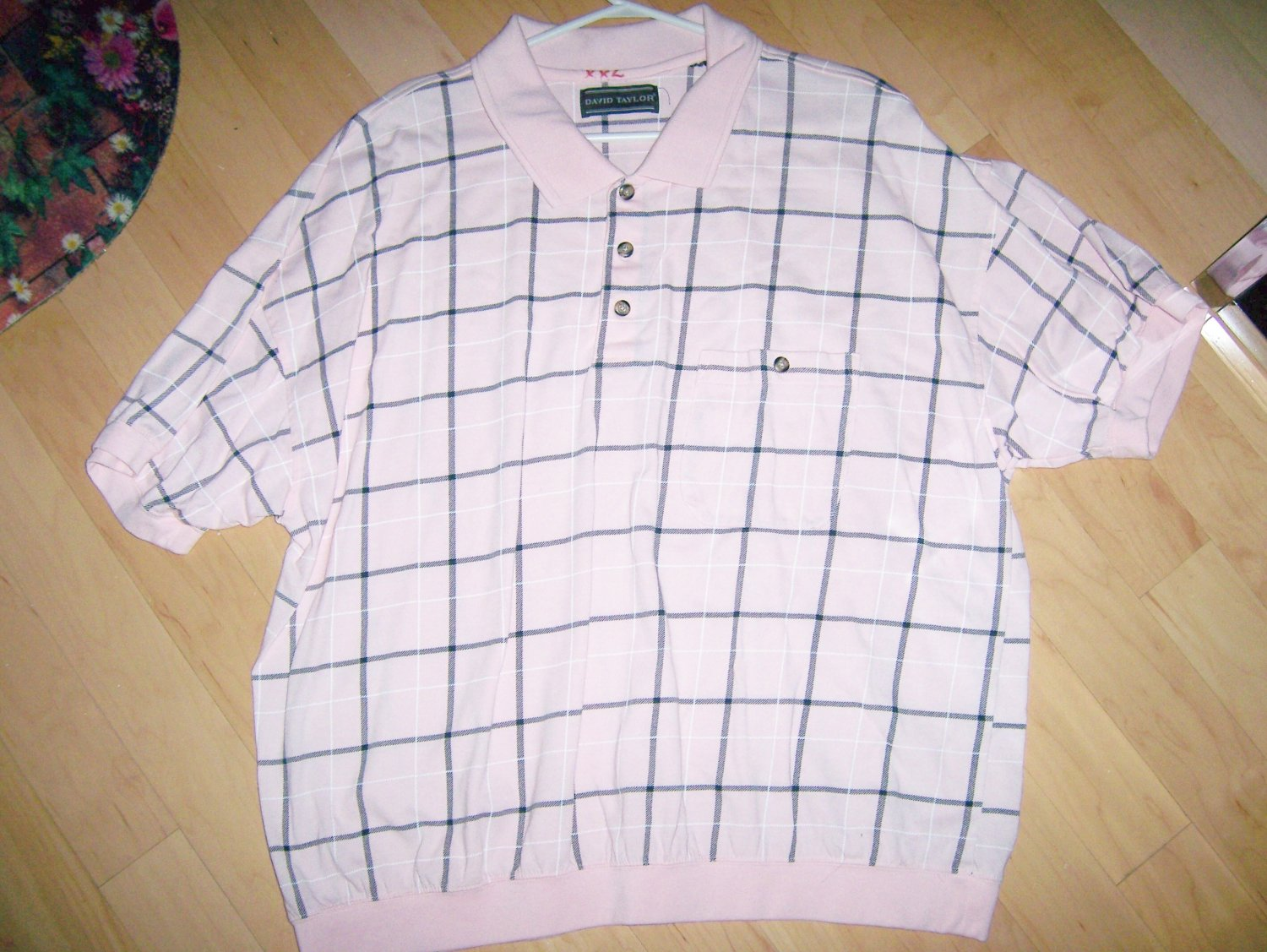 Men's Short Sleeve Polo Pink w Black Checked XXL BNK1380