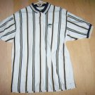 Men's Golf Shirt XXL White w Brn&Blk Stripes By Cutter & Buck BNK1393