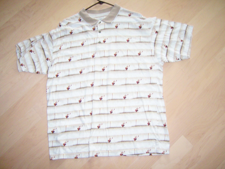 Men's Golf Shirt Tan w Golfers Designs Med By Supreme  BNK1402
