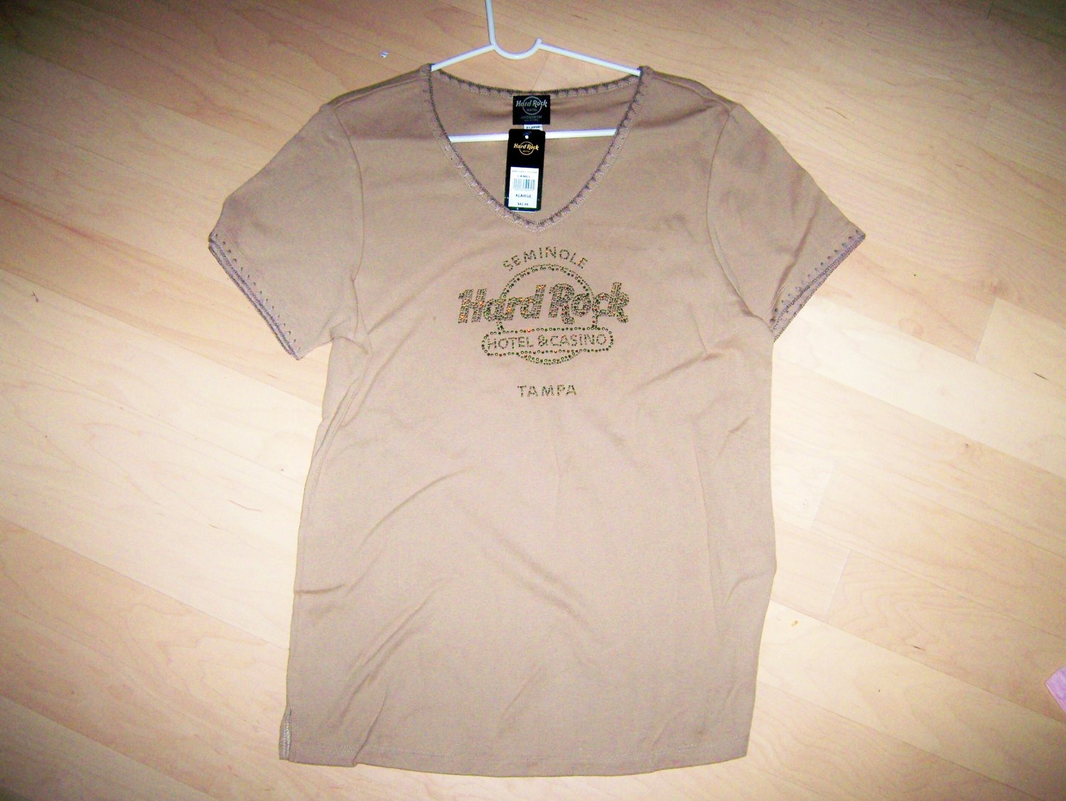 Hard Rock Shirt Brown V Neck XLarge BNK1557