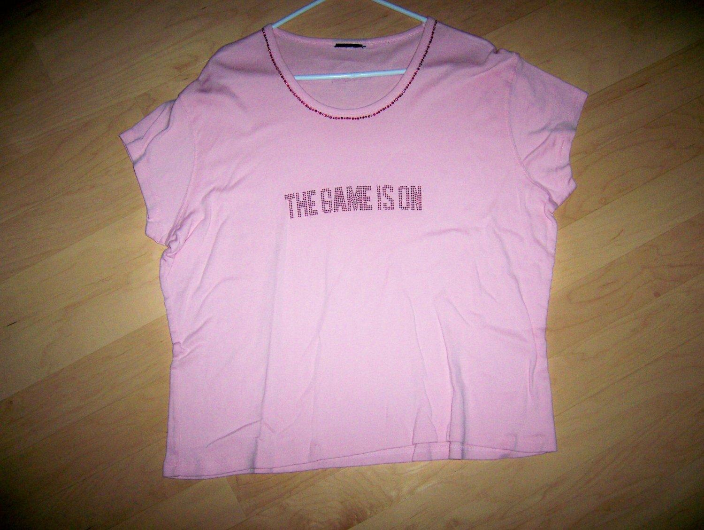 """Hard Rock Shirt Pink """"Game Is On"""" Large BNK1558"""