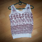 Ladies Tank Top White w Brown Aztex Desings Size 10 BNK1625