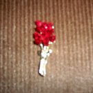 Red Rose And Gold Stem & Leaves Pin  BNK1978