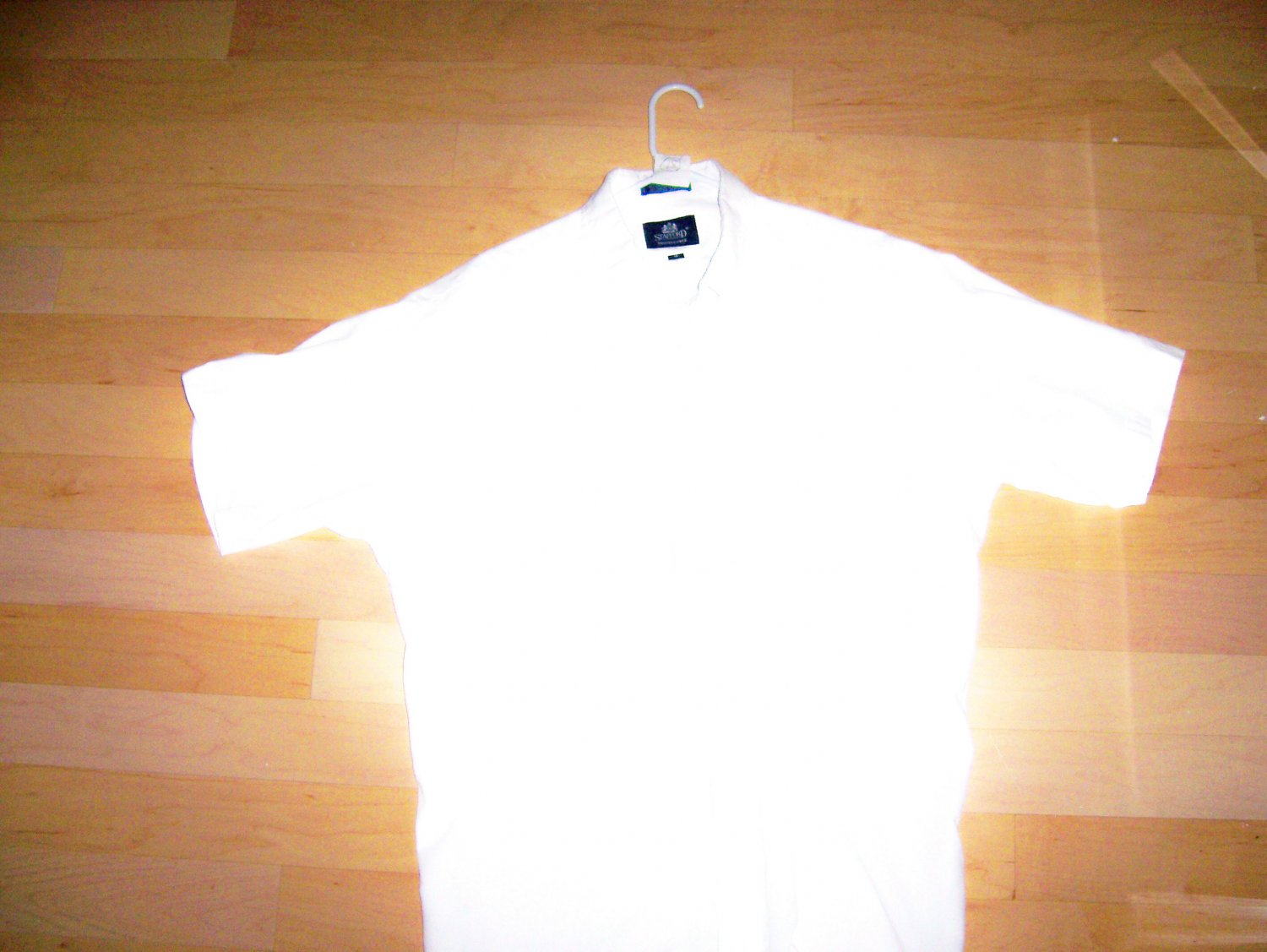 Men 39 s white dress shirt by stafford size 18 neck bnk2177 for Stafford white short sleeve dress shirts
