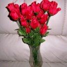 Silk Roses Long Stem In Bud Form Glass Vase  BNK2370